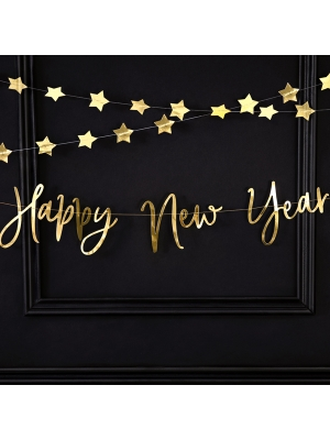 Virtene Happy New Year, zelta, 18 x 66 cm