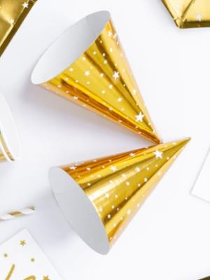 6 gab, Papīra cepures ar zvaigznēm, zelta, 10 х 16 cm