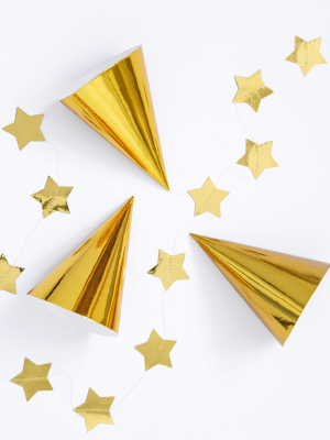 6 gab, Papīra cepures, zelta, 10 х 16 cm