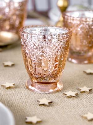 Stikla svečturis, rozā zelts, 8 cm