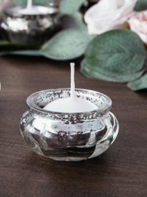 Стеклянный подсвечник, серебристый, 3 см