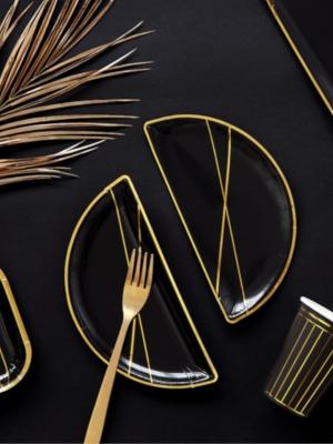 6 gab, Šķīvji, melni ar zeltu, 21.5x10.5 cm
