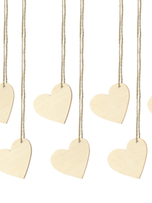 10 pc, Wooden place cards Hearts, 6x5cm