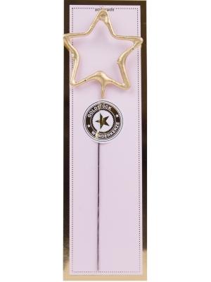 Brīnumsvecīte zvaigznes formā, zelta, 6 x 20 cm