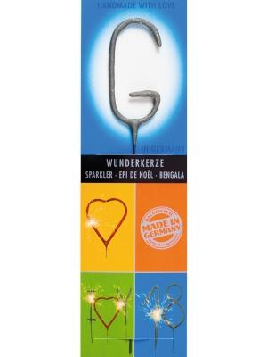 Brīnumsvecīte - G, sudraba, 6 x 20 cm