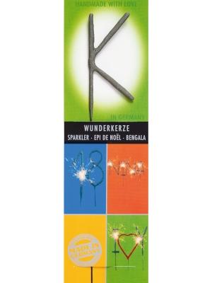 Brīnumsvecīte - K, sudraba, 6 x 20 cm