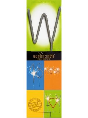 Brīnumsvecīte - W, sudraba, 6 x 20 cm