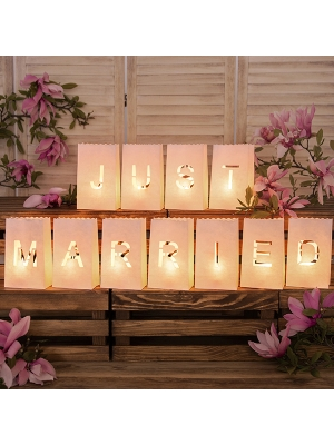 11 pcs, Lanterns, candles bags - Just Married, 11.5x19x7cm