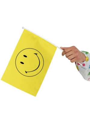 5 pcs, Smiley Small Handheld Flags, Yellow