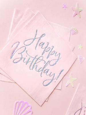 20 шт, Салфетки Happy Birthday!, светло-розовые,  33 x 33 см