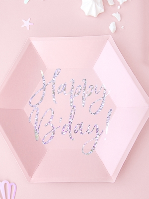 6 шт, Тарелки Happy B-day!, светло-розовые, 20 см