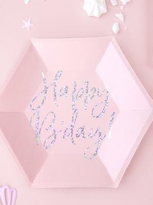 6 gab, Šķīvji - Happy B`day!, rozā, 20cm