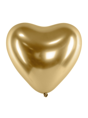 Chrome Balloons Hearts, gold, 27cm