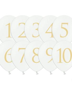 10 gab, Baloni ar cipariem, balti ar zeltu, 30 cm
