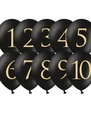 10 gab, Baloni ar cipariem, melni, 30 cm