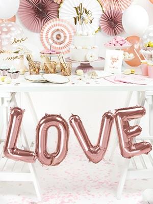 """Folija balons """"Love"""", rozā zelts, 140 x 35 cm"""