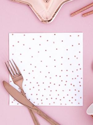 20 шт, Салфетки в горошек, белые с розовым-золотом, 16.5 x 16.5 см
