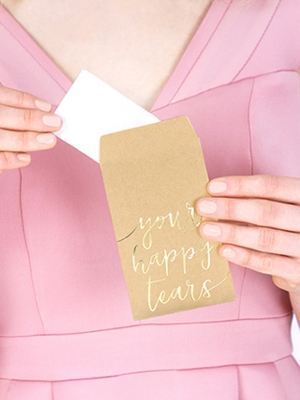 10 pcs, Pocket tissues Your happy tears, gold, 7.5 x 12 cm