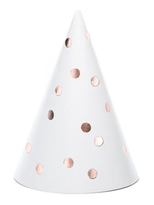 6 gab, Papīra cepures, baltas ar rozā zeltu, 10 x 16 cm