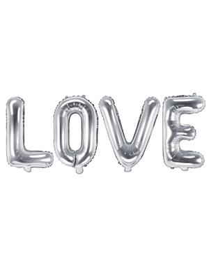 "Folija balons ""Love"", sudraba, 140 x 35 cm"