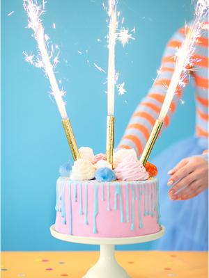 4 шт, Свечи-фейерверк для тортов, золотые, 12 см