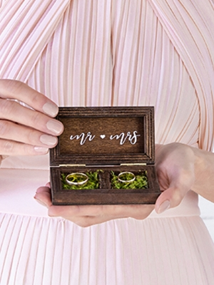 Wooden wedding ring box, 10 x 5.5 cm