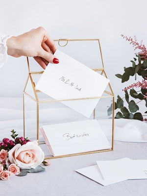 Glass Gift Card Holder, gold, 13x21x21cm