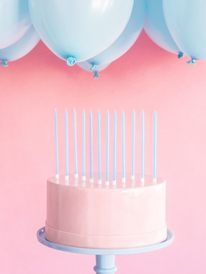 12 pcs, Plain birthday candles, light blue, 14 cm