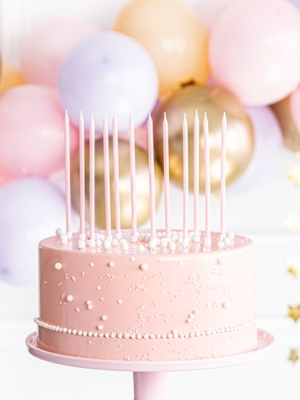 12 pcs, Plain birthday candles, light pink, 14 cm