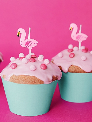 5 pcs, Birthday candles Flamingos, 3cm