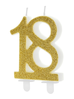 Birthday candle Number 18, gold, 7.5cm