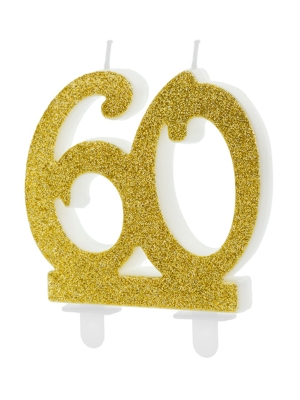 Birthday candle Number 60, gold, 7.5 cm