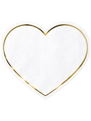 20 шт, Салфетки - Сердце, белые, 14.5 x 12.5 см