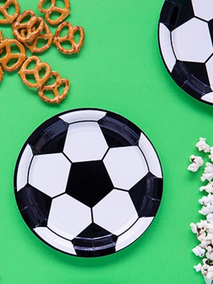 6 pcs, Plates Football, mix, 18 cm