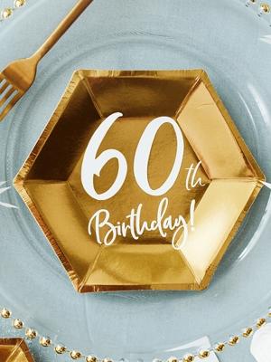 """6 gab, Šķīvji """"60th Birthday!"""", zelta, 20 x 17 cm"""