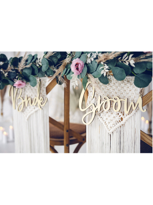 "Uzraksti ""Bride"" un ""Groom"",  25.5 - 17.5 cm"