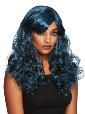 Gothic Seductress Curly Wig, Black & Blue