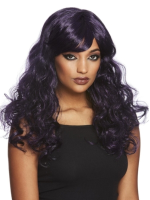 Gothic Seductress Curly Wig, Black & Purple