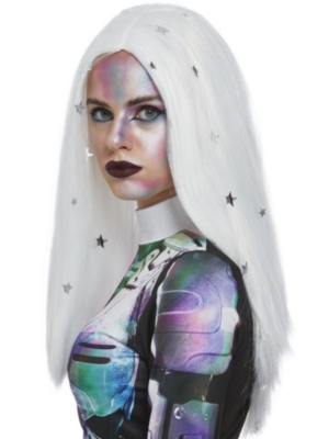 Cosmic Wig, White & Silver