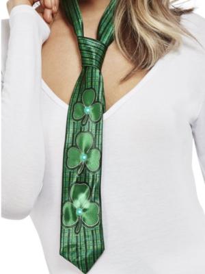 LED kaklasaita ar trīslapu āboliņu, zaļa