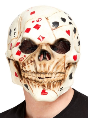 Poker Face Skull Overhead Mask, Latex