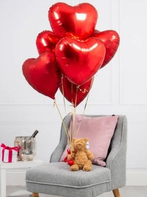 """Hēlija pušķis """"7 folijas sirdis"""", 45 cm"""