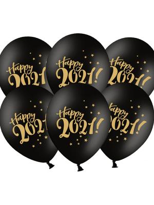 Шар Happy 2021!, чёрный, 30 см
