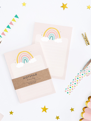 Paper notebook Rainbow, 40 sheets, 8.5 x 12 cm