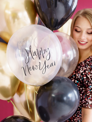 6 pcs, Strong Balloons Happy New Year, Crystal Clear with black print, 30 cm