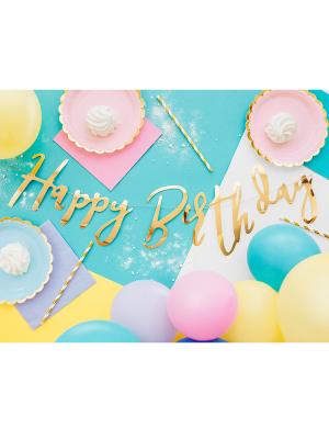 Banner Happy Birthday, gold, 16.5x62cm