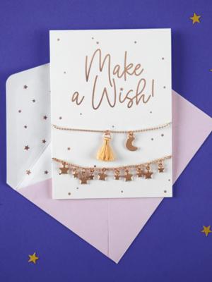 Открытка с браслетами - Make a wish!, белая, 10.5 x 14.8 см