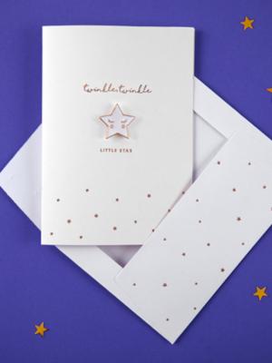 Открытка с брошью звезды - Twinkle, Twinkle, Little Star, белая, 10.5 x 14.8 см