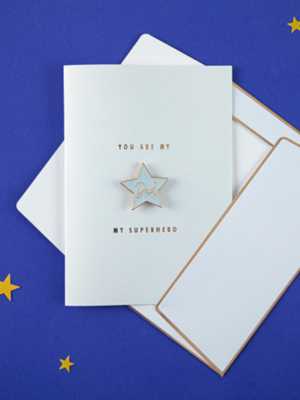 Открытка с брошью звезды - You are my superhero Dad, голубая, 10.5 x 14.8 см