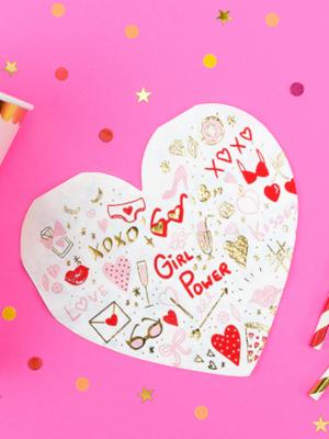 20 шт, Салфетки - сердце, 16 x 15 см